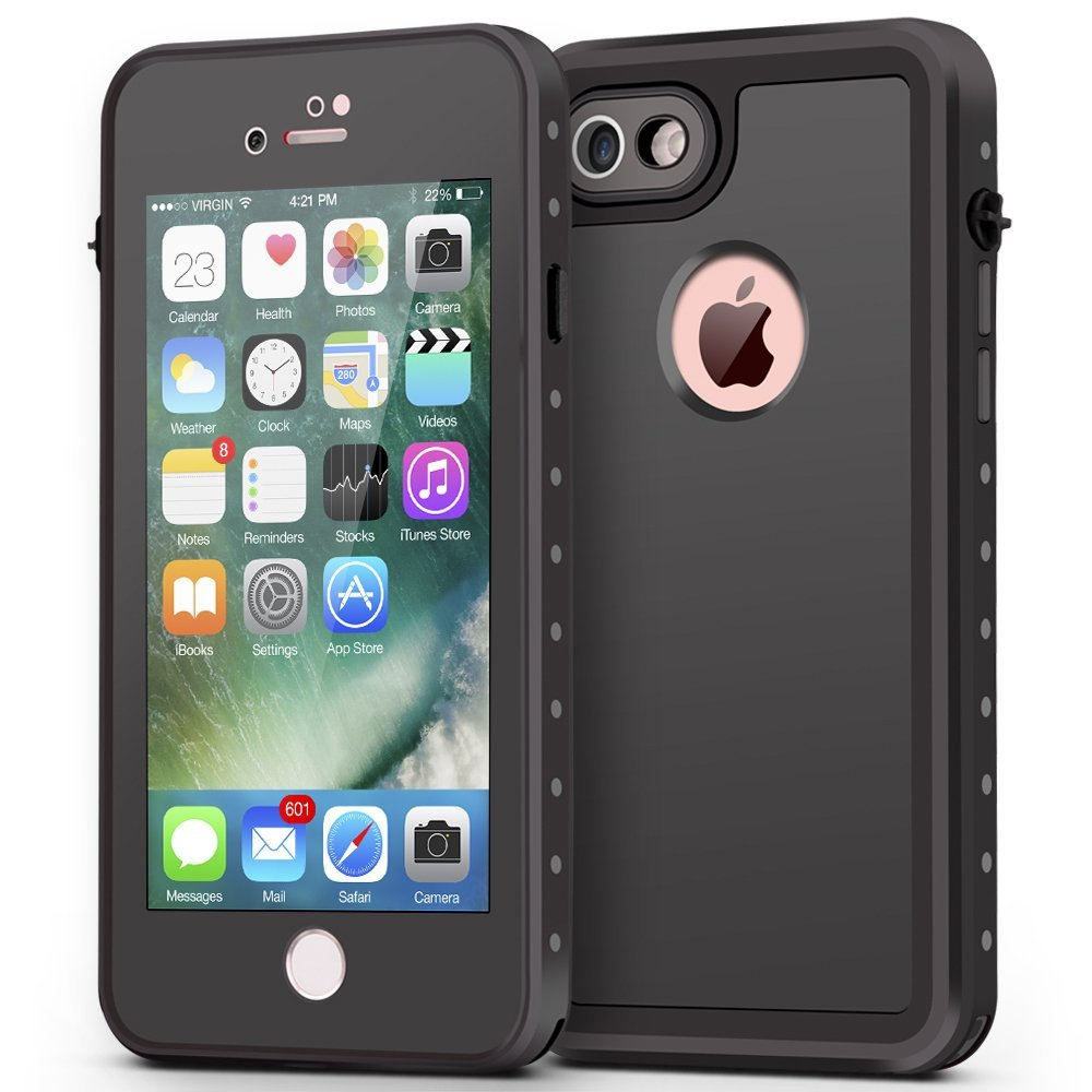 new arrivals 96e25 01b2e ImpactStrong iPhone 7 Waterproof Case [FingerPrint ID Compatible] Slim Full  Body Protection for Apple iPhone 7 (4.7 inch) - Black